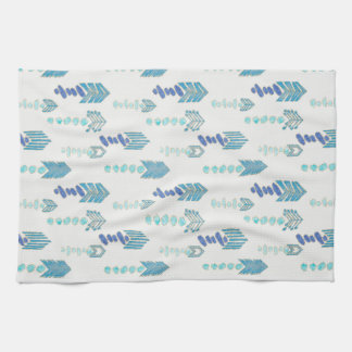boho chic blue arrows native pattern tea towel