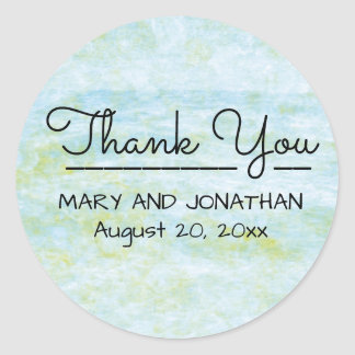 Boho Chic Blue Green Watercolor Thank You Wedding Round Sticker