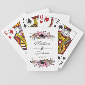 Boho Chic Blush Pink Floral Feathers Wedding Favor Playing Cards