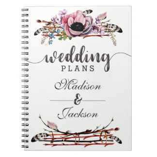 Boho Chic Blush Pink Floral Wedding Planner Spiral Notebook