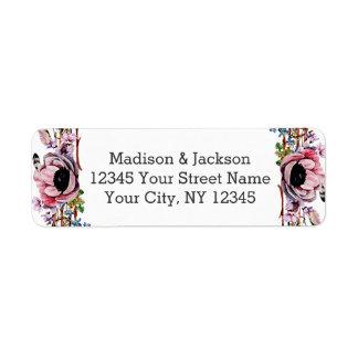 Boho Chic Blush Pink Floral Wedding Return Address Return Address Label