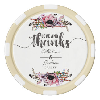 Boho Chic Blush Pink Floral Wedding Thank You Poker Chips