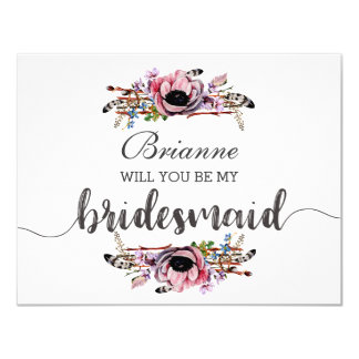 Boho Chic Blush Pink Will You Be My Bridesmaid Card