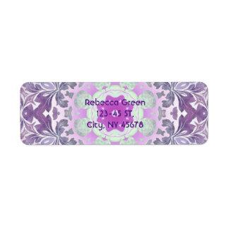 Boho chic Bohemian lilac purple mandala Return Address Label