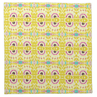 Boho Chic Bohemian Tribal Floral Chartreuse Green Napkin