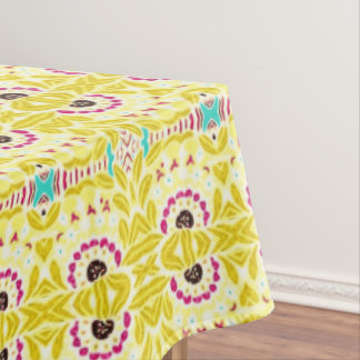 Boho Chic Bohemian Tribal Floral Chartreuse Green Tablecloth