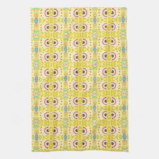 Boho Chic Bohemian Tribal Floral Chartreuse Green Tea Towel