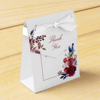 Boho chic burgundy and indigo Wedding Thank You Favour Box