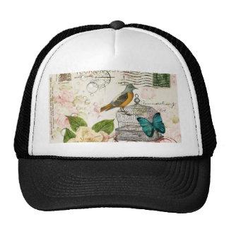 boho chic butterfly botanical birdcage french bird cap