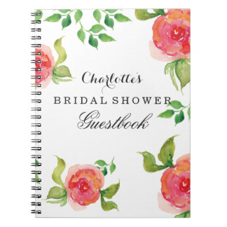 boho chic Coral bridal shower Guestbook Notebook
