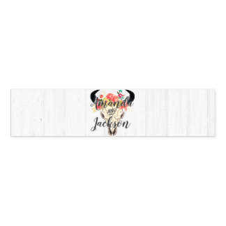 Boho Chic Cow Skull Floral Rustic Wedding Monogram Napkin Band