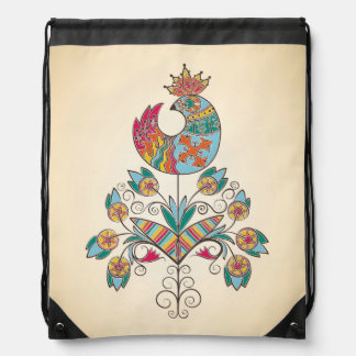 Boho-chic, ethnic, folk chick on flower. drawstring bag