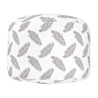 boho chic feather, bohemian pattern pouf