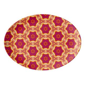 Boho Chic Floral Flowers Pattern Magenta and Gold Porcelain Serving Platter
