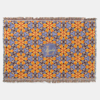 Boho Chic Floral Pattern Orange Yellow Purple Name Throw Blanket