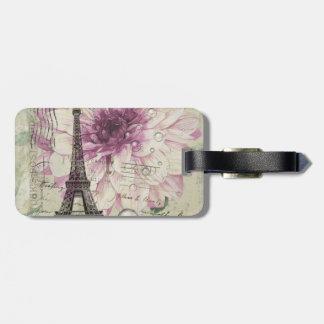 Boho Chic floral Vintage Paris Eiffel Tower Luggage Tag