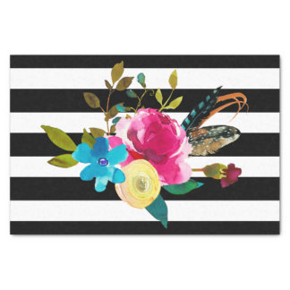 Boho Chic Floral Watercolor & Stripes Wedding Tissue Paper