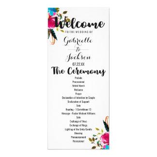 Boho Chic Floral Watercolor Wedding Program