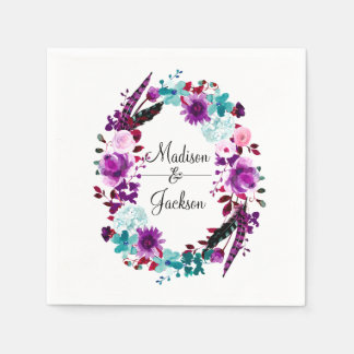 Boho Chic Floral Wreath Purple Monogram Wedding Disposable Napkins