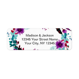 Boho Chic Floral Wreath Wedding Return Address Return Address Label