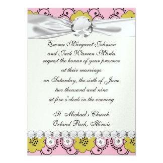 boho chic flower mod damask 14 cm x 19 cm invitation card