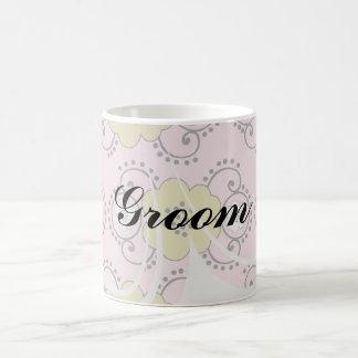 boho chic flower mod damask basic white mug