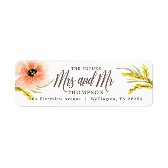 Boho Chic Future Mrs Wildflower Watercolor Return Return Address Label