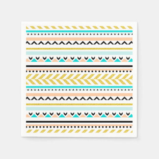 Boho Chic Geometric Aztec Inspired Pattern Disposable Napkins