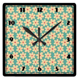 Boho Chic Hippie Happy Daisy Square Wall Clock