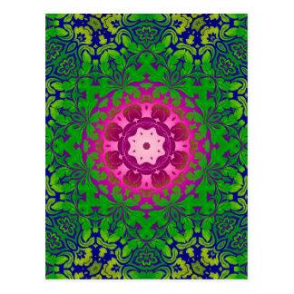 Boho Chic kaleidoscope Yoga Fuschia green mandala Postcard