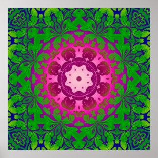 Boho Chic kaleidoscope Yoga Fuschia green mandala Poster