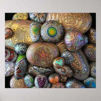 Boho -Chic meditation Rocks by Julie Ann Stricklin Poster