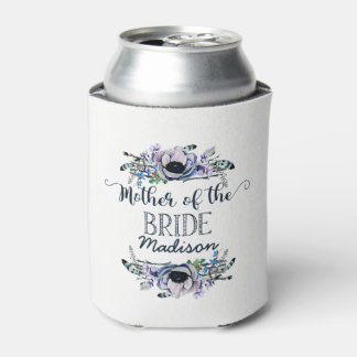 Boho Chic Mint & Navy Floral Mother of the Bride Can Cooler