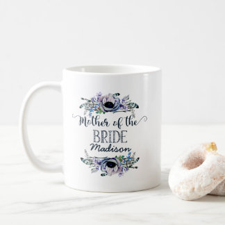 Boho Chic Mint & Navy Floral Mother of the Bride Coffee Mug