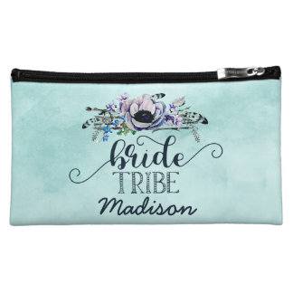 Boho Chic Mint & Navy Floral Wedding Bride Tribe Makeup Bag
