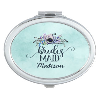 Boho Chic Mint & Navy Floral Wedding Bridesmaid Compact Mirrors