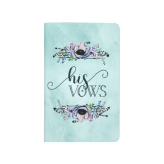 Boho Chic Mint & Navy Floral Wedding His Vows Journal