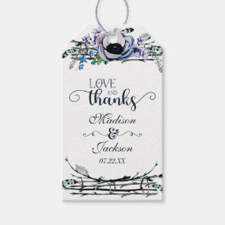 Boho Chic Mint & Navy Floral Wedding Love & Thanks Gift Tags