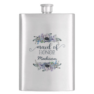 Boho Chic Mint & Navy Floral Wedding Maid of Honor Hip Flask