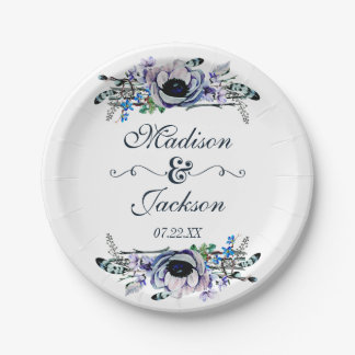 Boho Chic Mint & Navy Floral Wedding Monogram Paper Plate