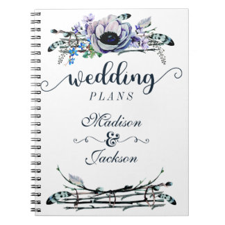 Boho Chic Mint & Navy Floral Wedding Planner Spiral Note Books