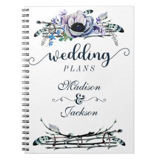 Boho Chic Mint & Navy Floral Wedding Planner Spiral Notebook