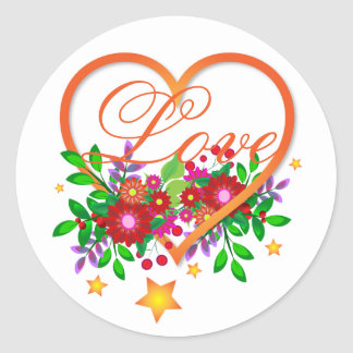 Boho Chic Open Heart Filled with Love and Flowers Round Sticker