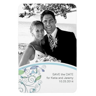 BOHO Chic Photo Save the Date Blue Budget Magnet