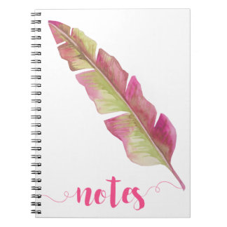 Boho Chic Pink & Green Feather Notebook