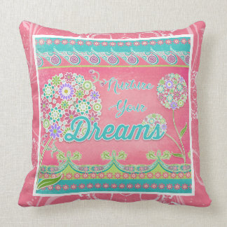 BOHO Chic Pink Live Inspired Nurture Your Dreams Throw Pillow