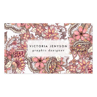 Boho chic red brown floral handdrawn pattern pack of standard business cards
