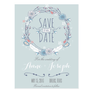 Boho Chic Save the Date Postcard