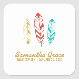 boho chic teal SWEET SIXTEEN party favor label 2 Square Sticker