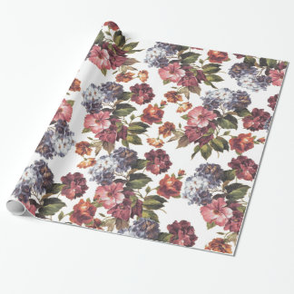 Boho chic vintage pink blue orange roses flowers wrapping paper